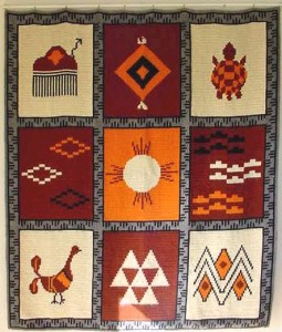 Native Design Cross-stitched wall rug